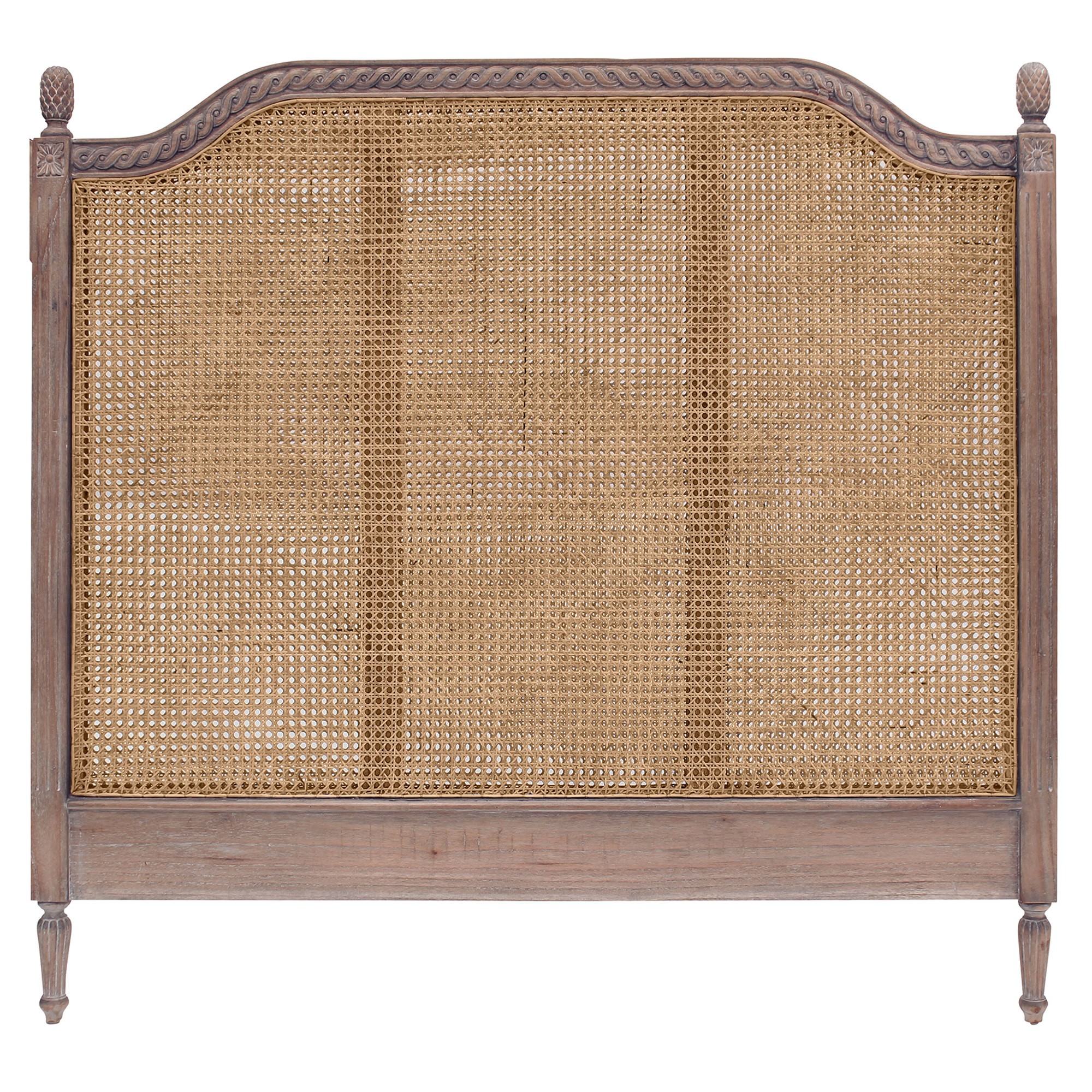Lapalisse Hand Crafted Mahogany Timber & Rattan Bed Headboard, King, Weathered Oak