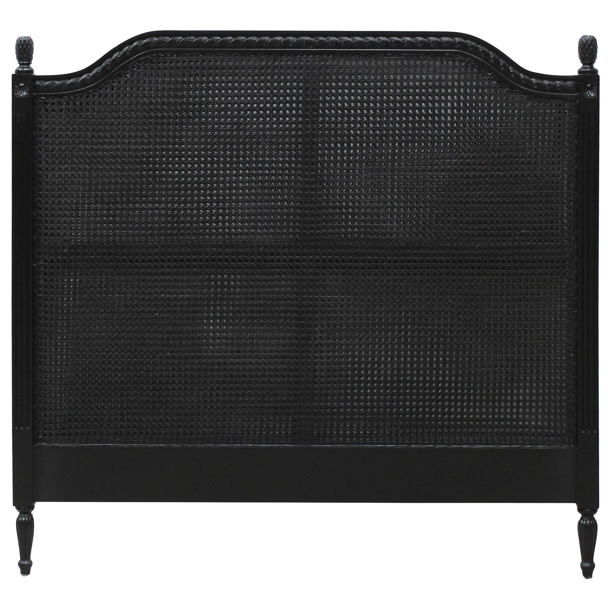 Lapalisse Hand Crafted Mahogany Timber & Rattan Bed Headboard, Queen, Black
