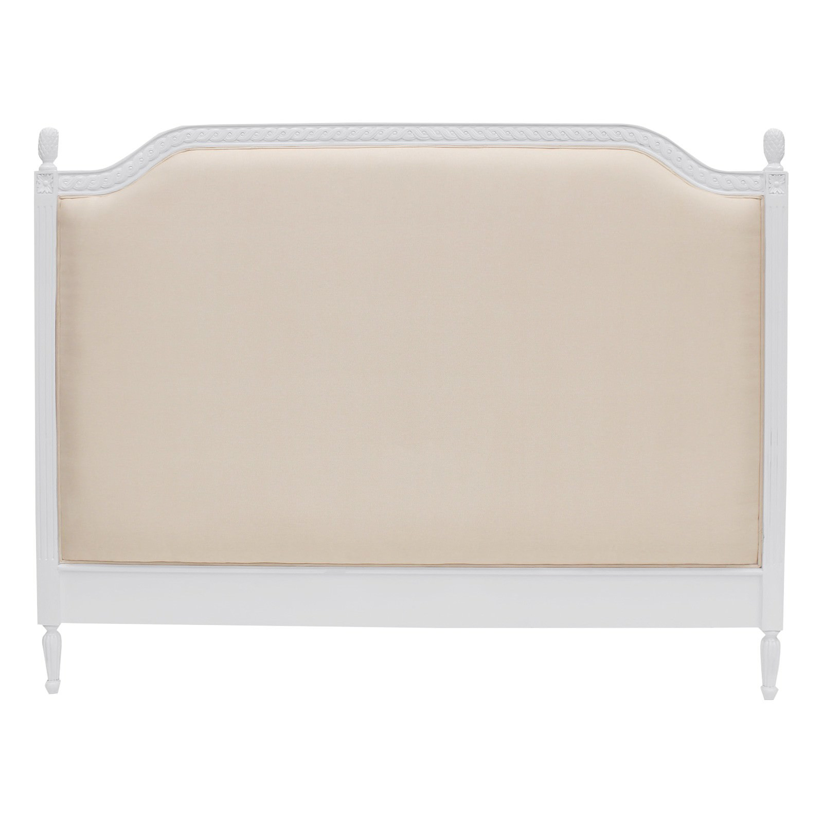 Lapalisse Hand Crafted Upholstered  Mahogany Timber Bed Headboard, King, White