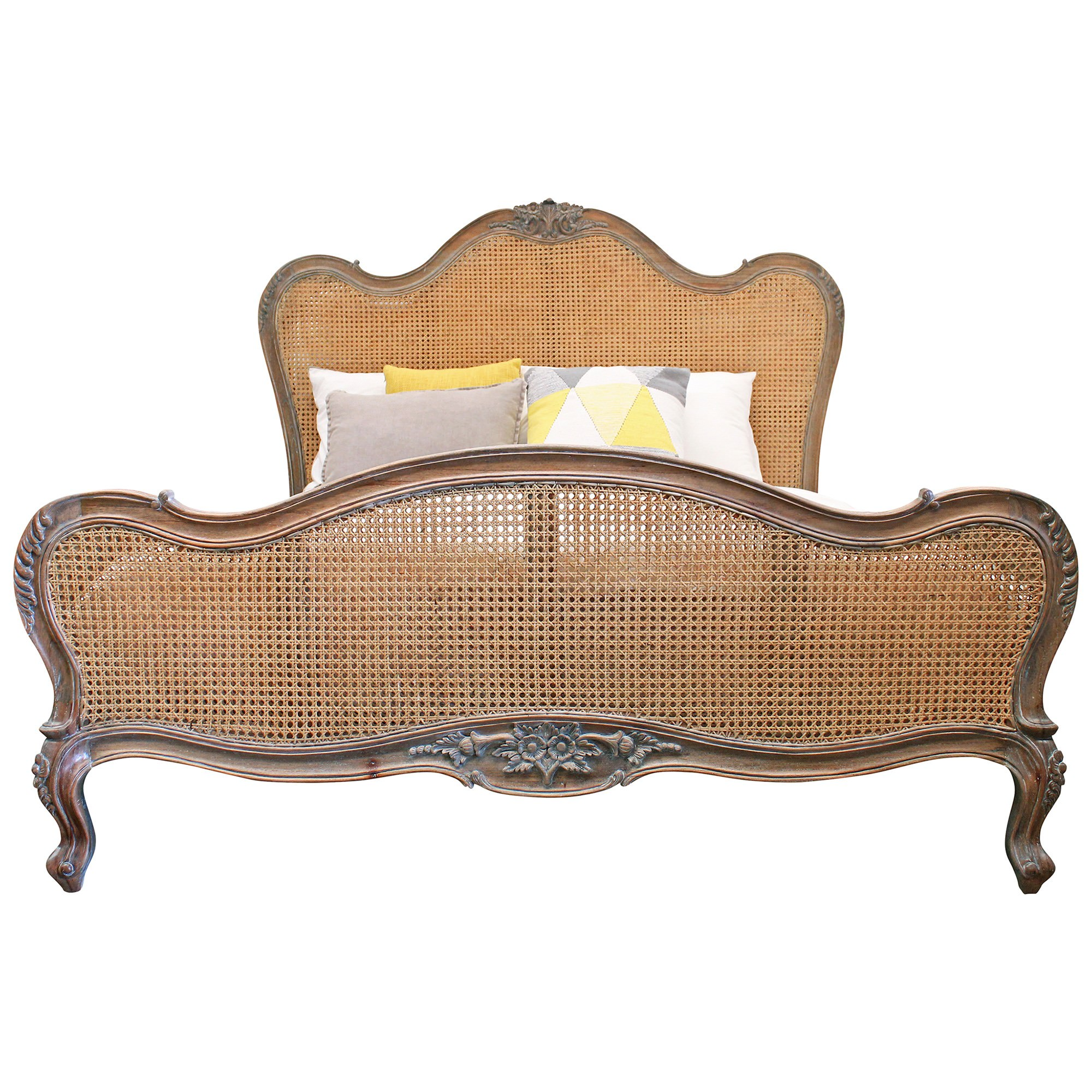 Chester Hand Crafted Solid Mahogany Timber and Rattan King Bed, Weathered Oak