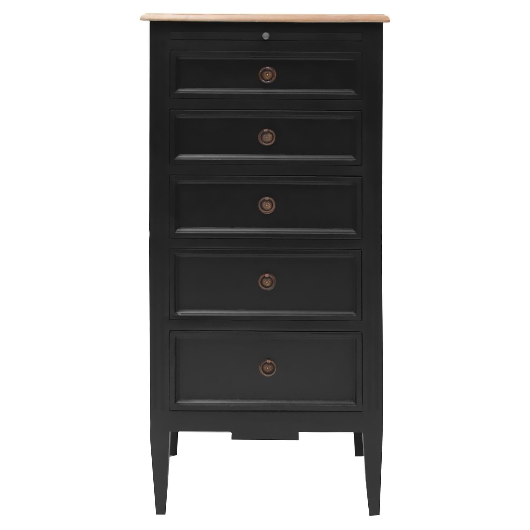 Belley Hand Crafted Mahogany Timber 5 Drawer Tallboy, Black / Weathered Oak