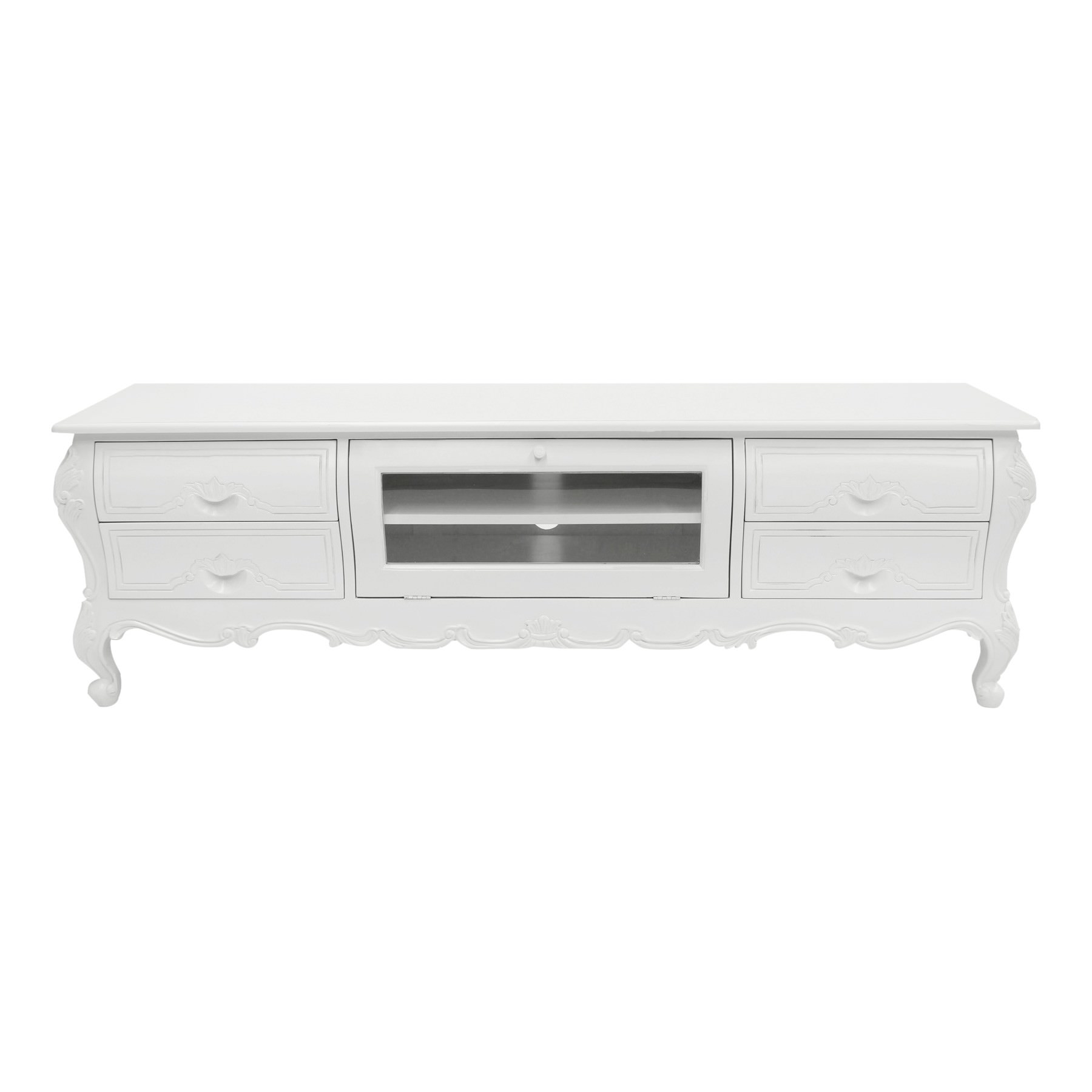 Amplepuis Hand Crafted Mahogany 4 Drawer TV Unit, White