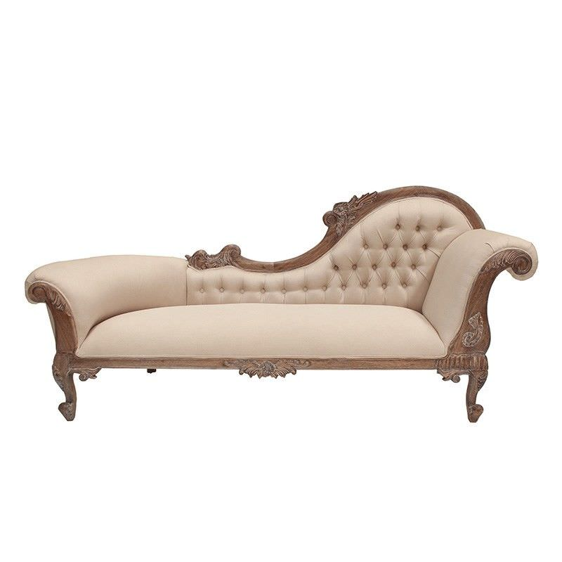 Paris Hand Crafted Solid Mahogany Right Hand Facing Chaise, Weathered Oak