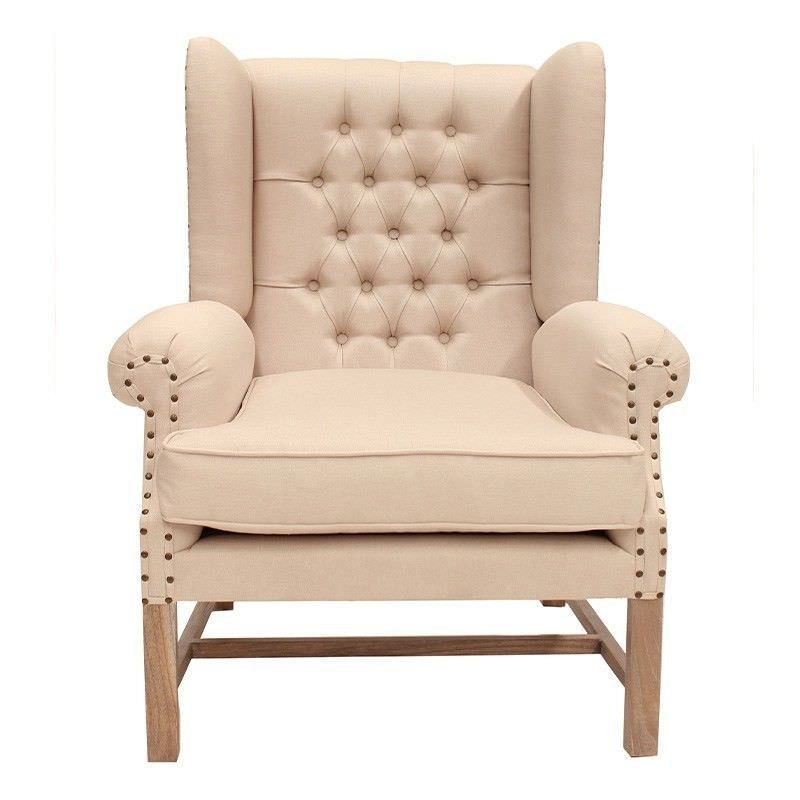 Souillac Hand Crafted Mahogany Wing Chair, Weathered Oak