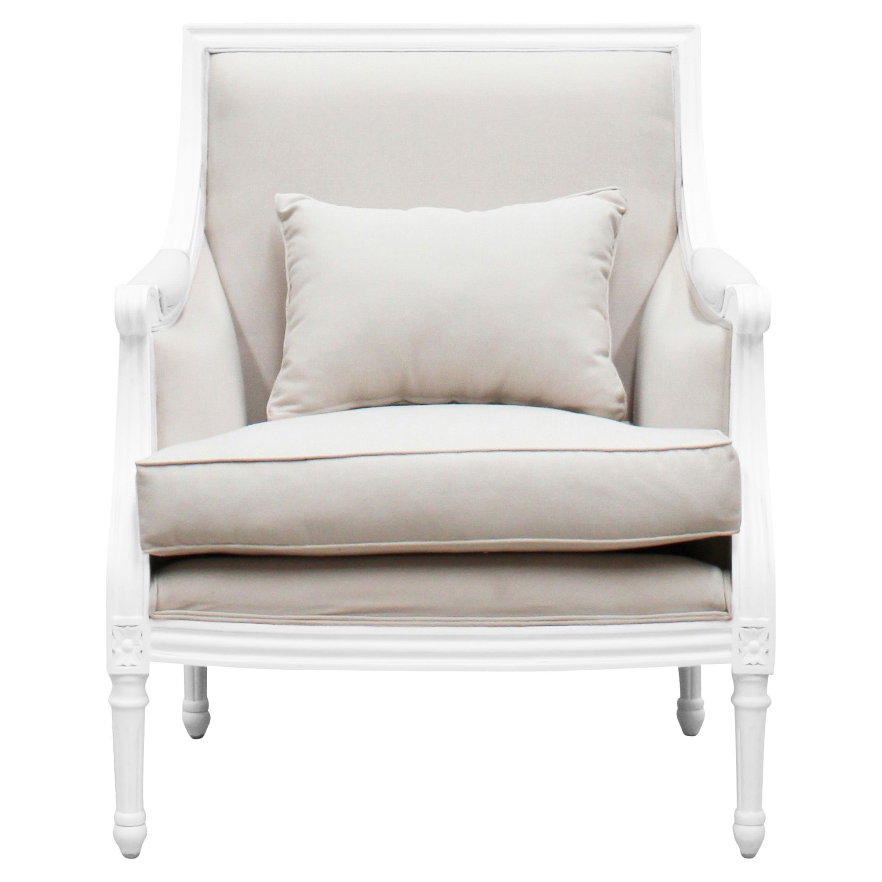 Lapalisse Handcrafted Fabric & Mindi Wood Armchair, White