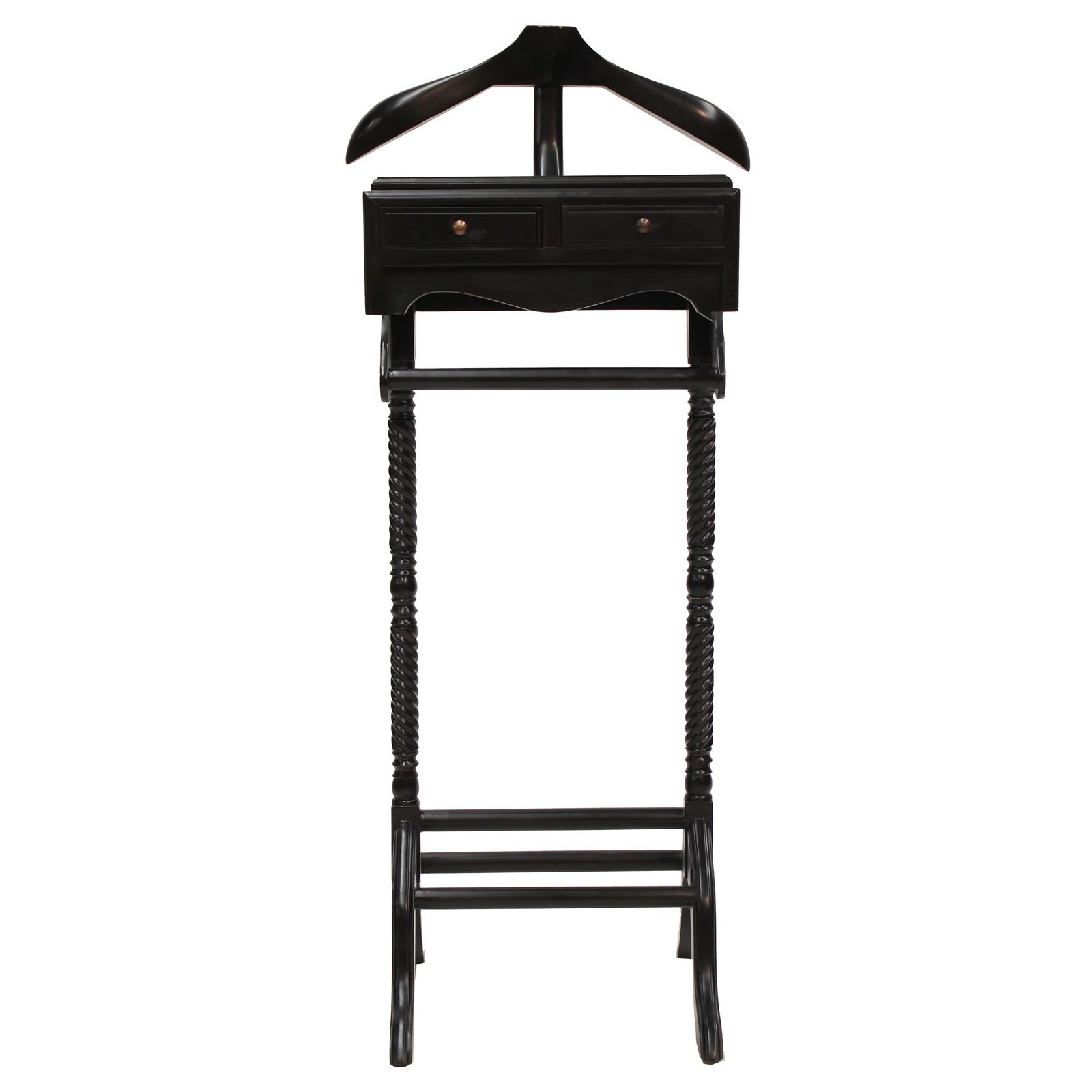 Recco Hand Crafted Mahogany Valet Stand, Black