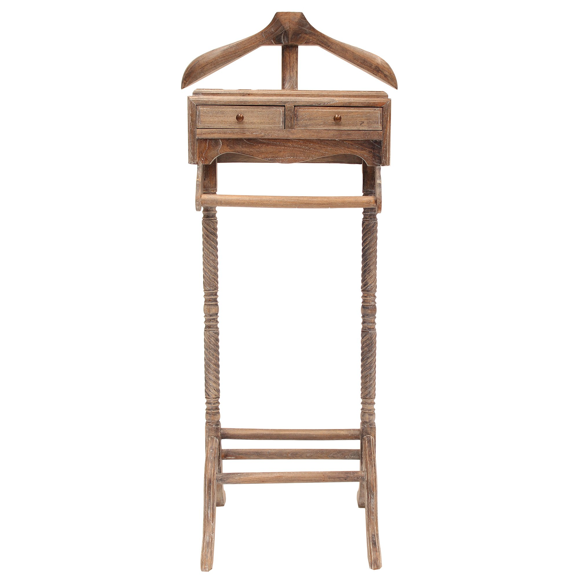 Recco Hand Crafted Mahogany Valet Stand, Weathered Oak