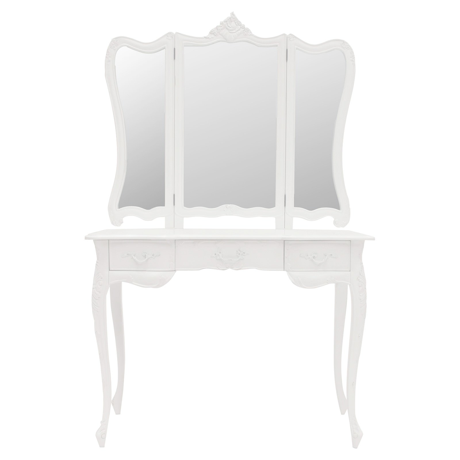 Septeme Hand Crafted Mahogany Dressing Table with Mirror, White