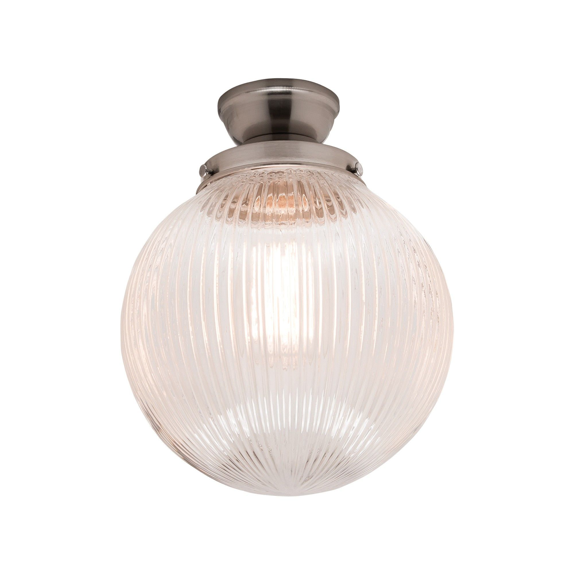 Halo DIY Ribbed Glass Batten Fix Ceiling Light Shade, Silver