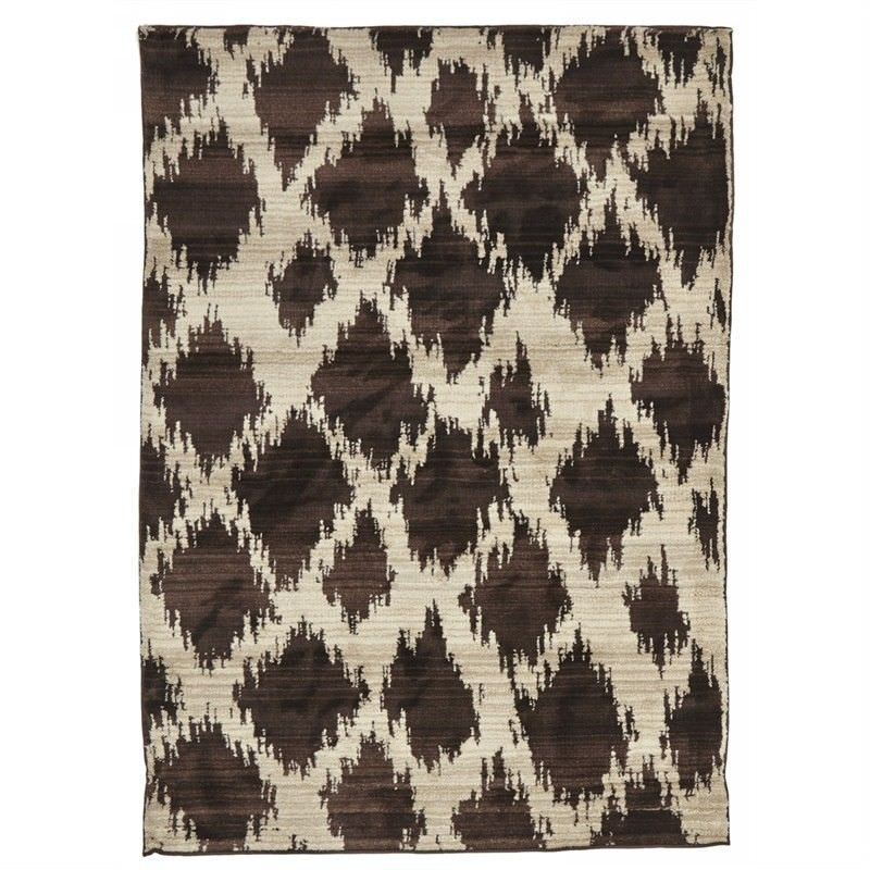 Egyptian Made Moroccan Cross Lines Design Rug in Chocolate - 230x160cm