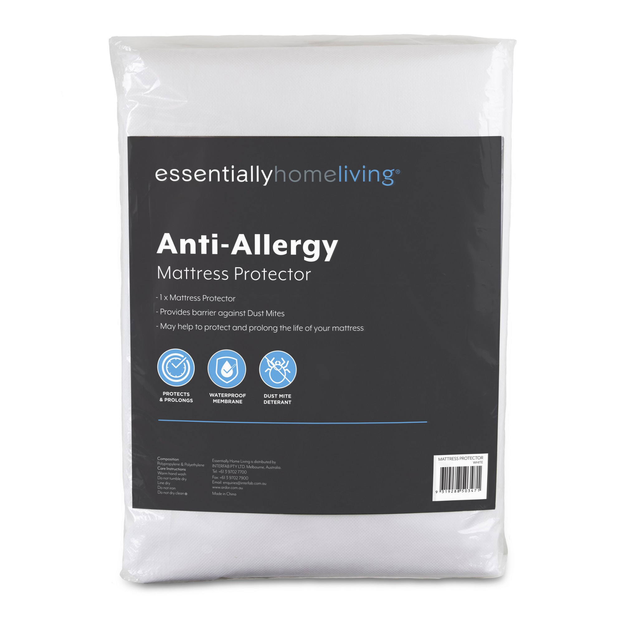 Essentially Home Living Anti Allergy Waterproof Mattress Protector, King Single