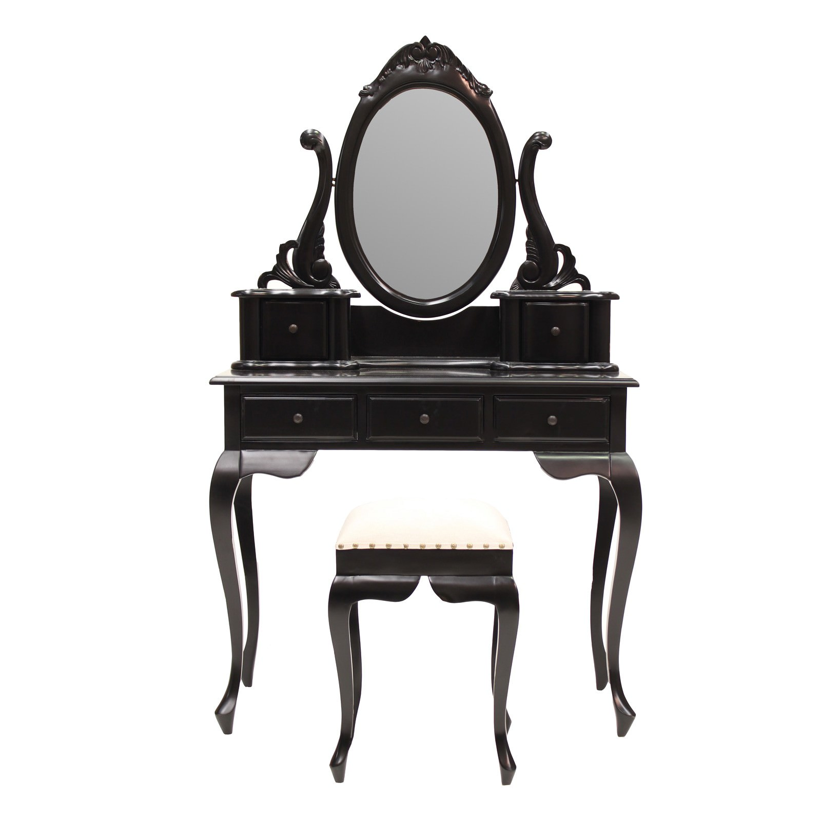Champier Hand Crafted Mahogany Dressing Table with Stool, Black