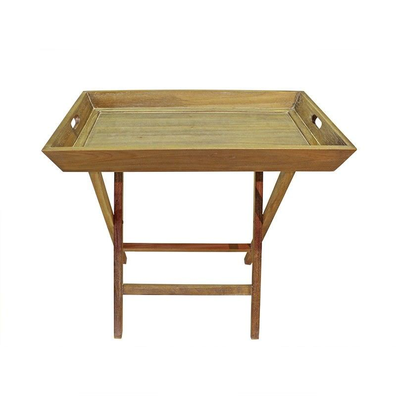 Issoire Hand Crafted Mahogany Butlers Tray on Stand, Weathered Oak