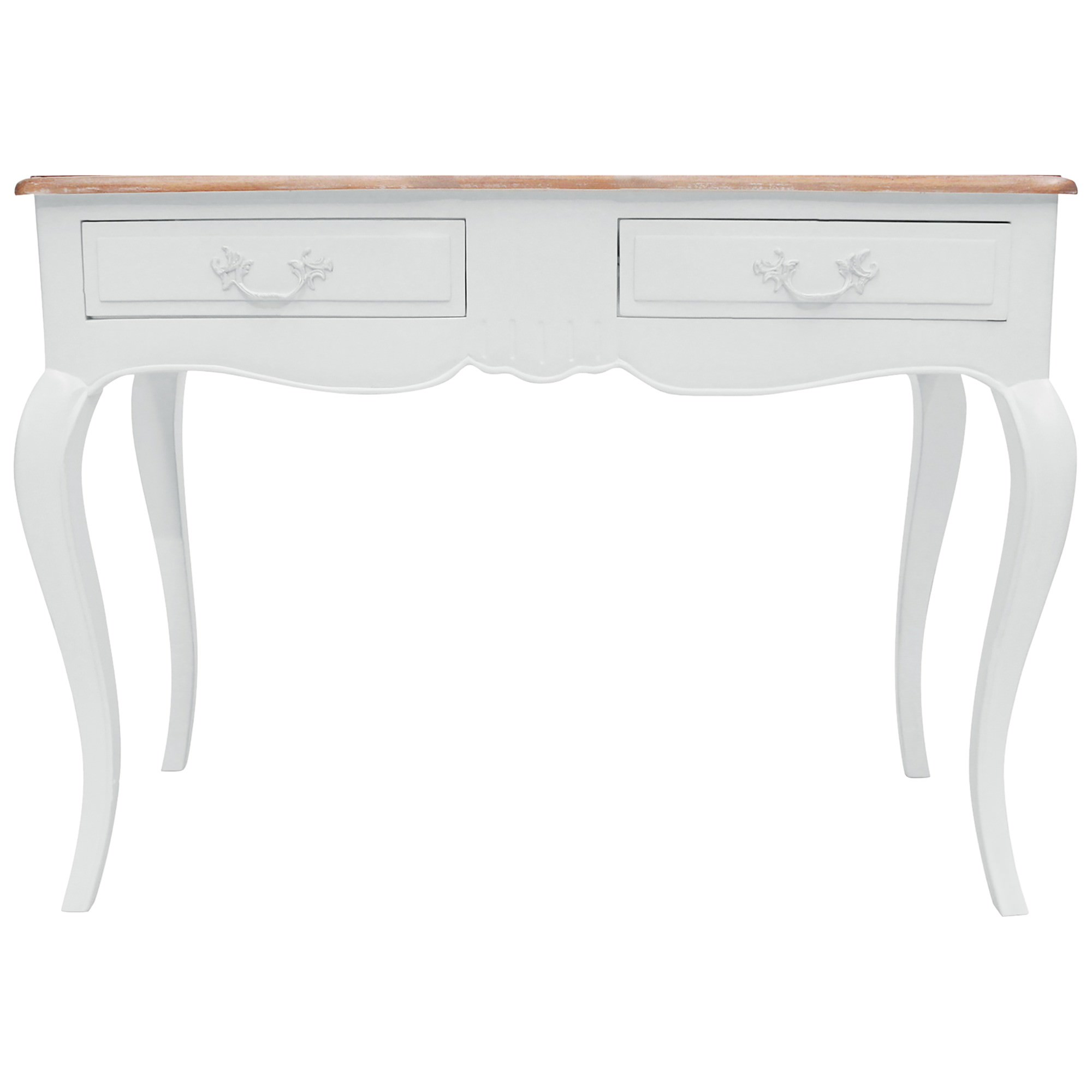 Chantillac Hand Crafted Mahogany 2 Drawer Hall Table, White