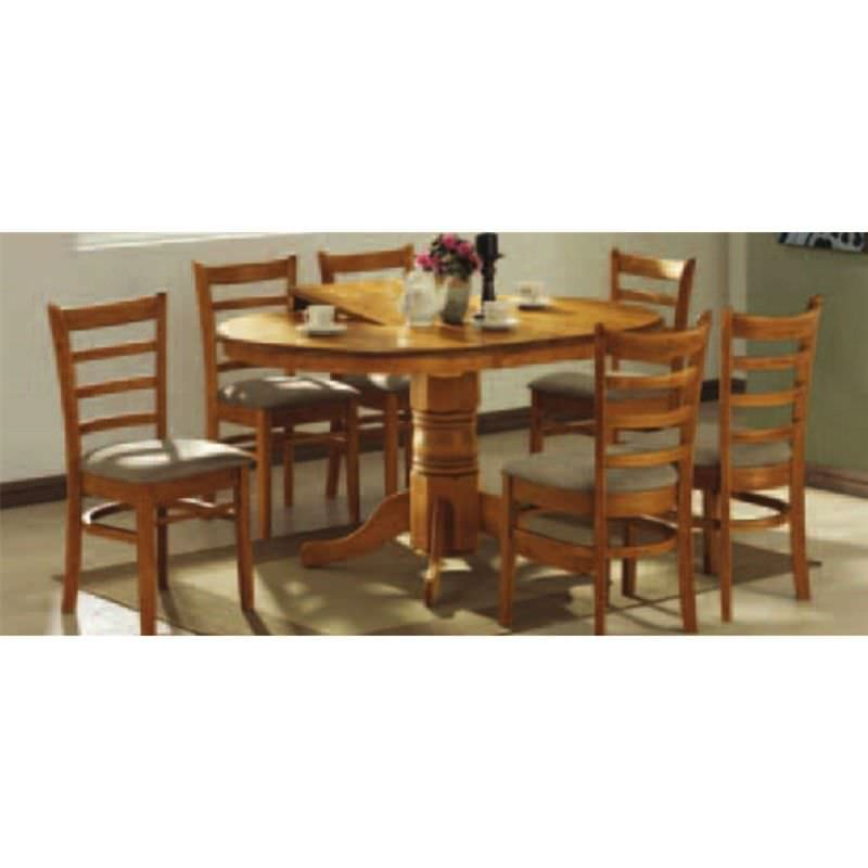 Mustang 5 Piece Rubberwood Extensible Dining Table Set, 106-150cm, Umber