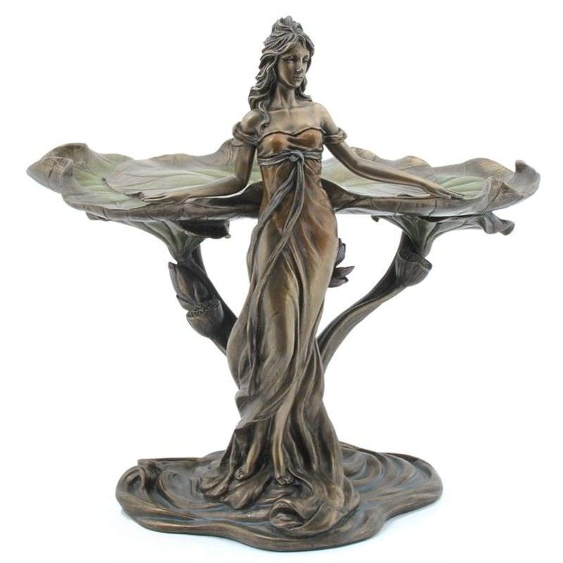 Veronese Cold Cast Bronze Coated Lady with Lotus Leaf Jewellery Tray