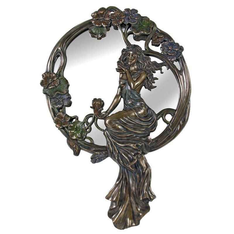 Veronese Cold Cast Bronze Coated Lady Sitting on Rattan Round Wall Mirror