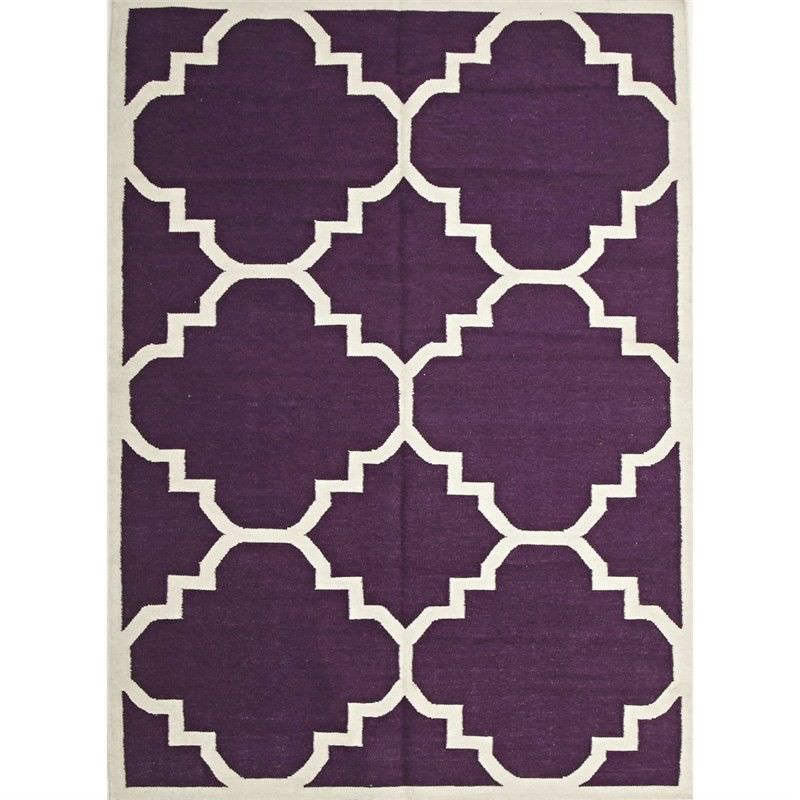 Nomad Hand Knotted Weave Moroccan Design Woolen Rug in Aubergine - 225x155cm