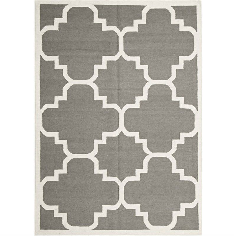 Nomad Hand Knotted Weave Moroccan Design Woolen Rug in Grey - 225x155cm