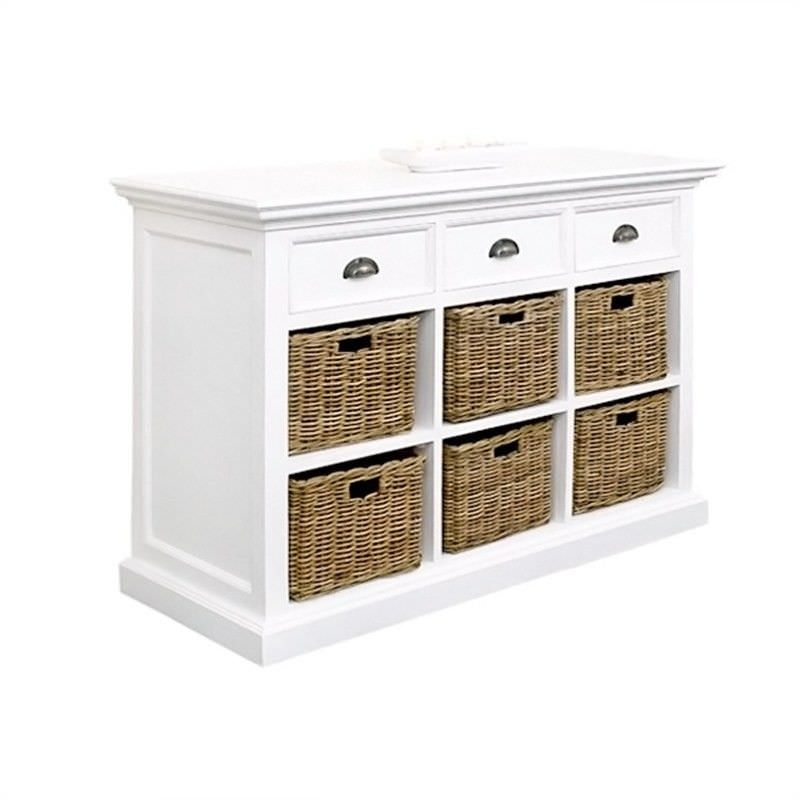 Halifax Mahogany Timber 3 Drawer Buffet Table with 6 Rattan Baskets, 125cm