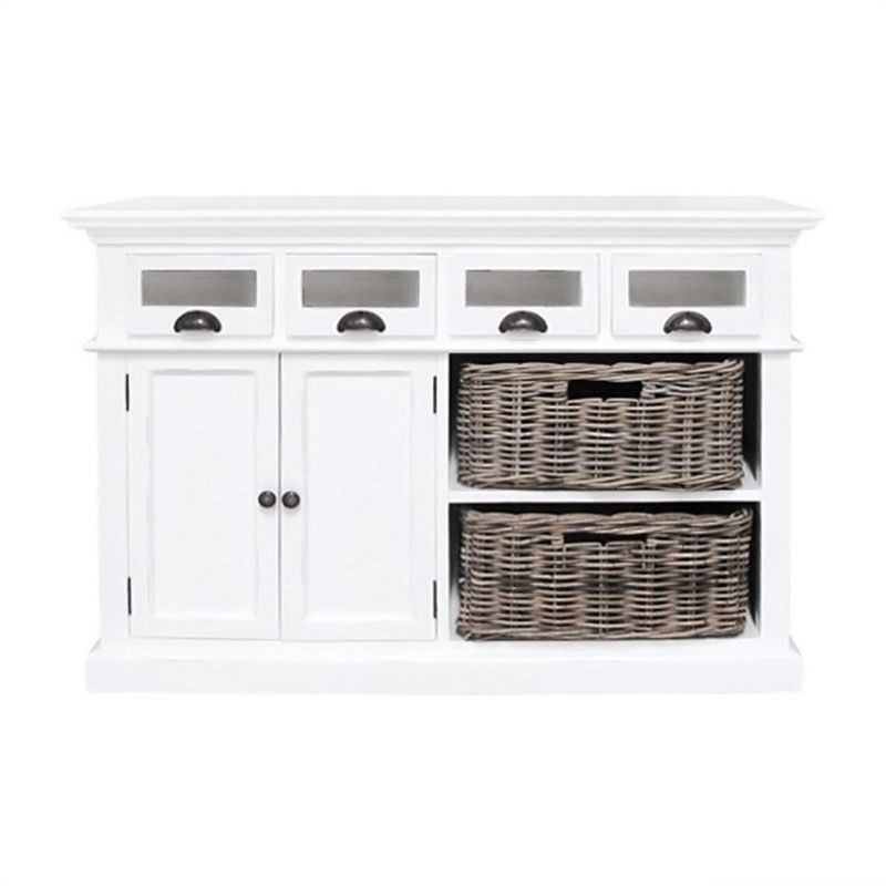 Halifax Mahogany Timber 2 Door 4 Drawer Buffet Table with 2 Rattan Baskets, 125cm