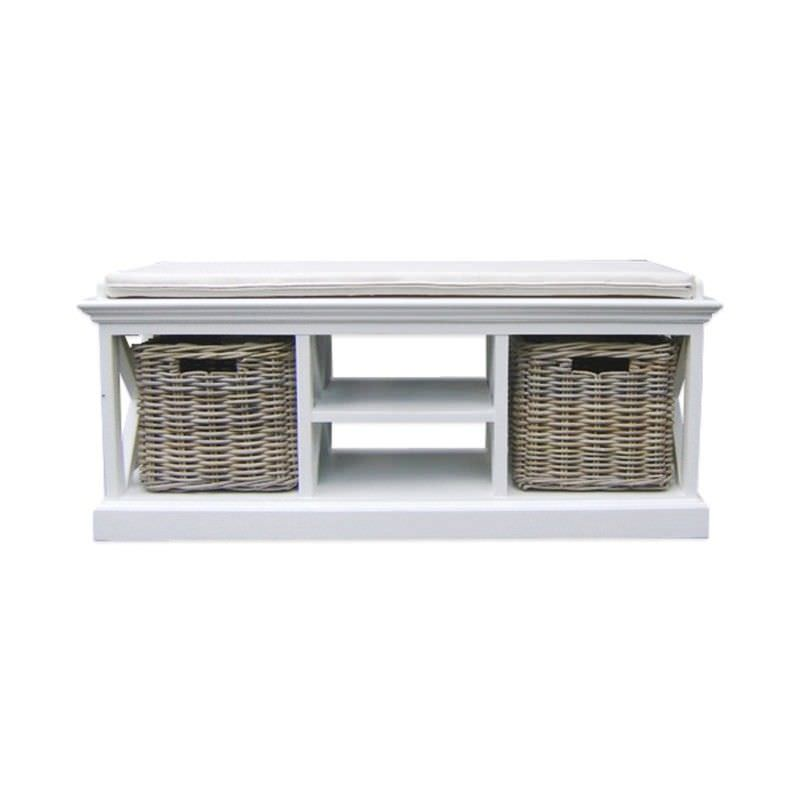 Halifax Solid Mahogany Timber 2 Rattan Baskets Bench with Cushion Seat