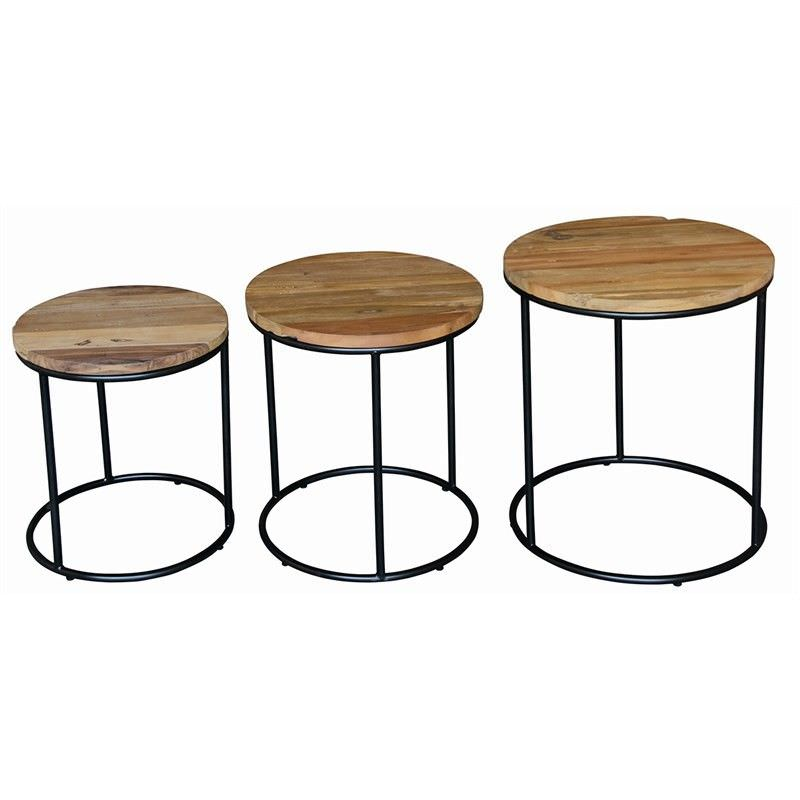 Rosen 3 Piece Timber and Metal Round Side Table Set