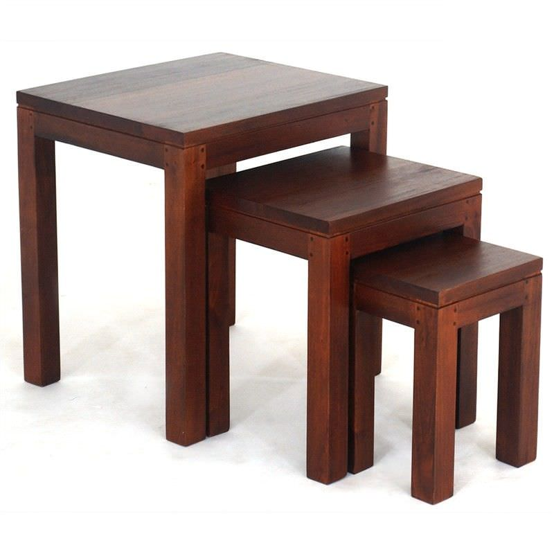 Amsterdam 3 Piece Solid Mahogany Timber Nested Table Set,  Natural