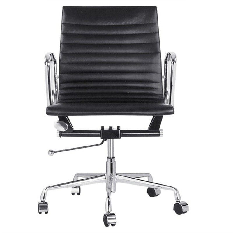 Replica Eames Italian Leather Office Chair, Mid Back, Black