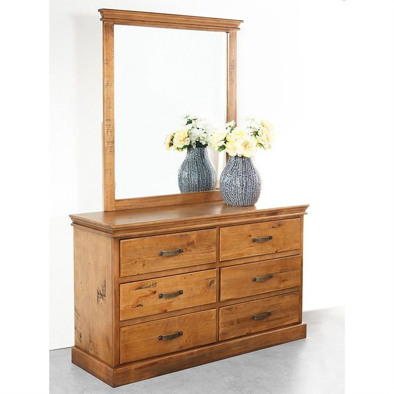 Kipling Solid Pine Timber 6 Drawer Dressing Table with Mirror - Light Oak Finish