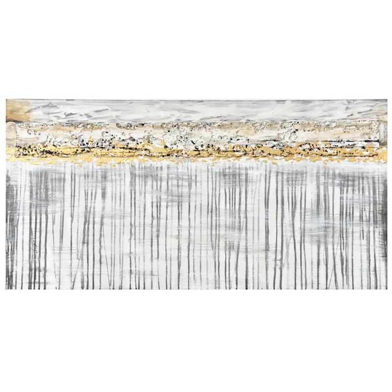 """""""Silver Linings"""" Stretched Hand Painted Abstract Canvas Wall Art, 120cm"""