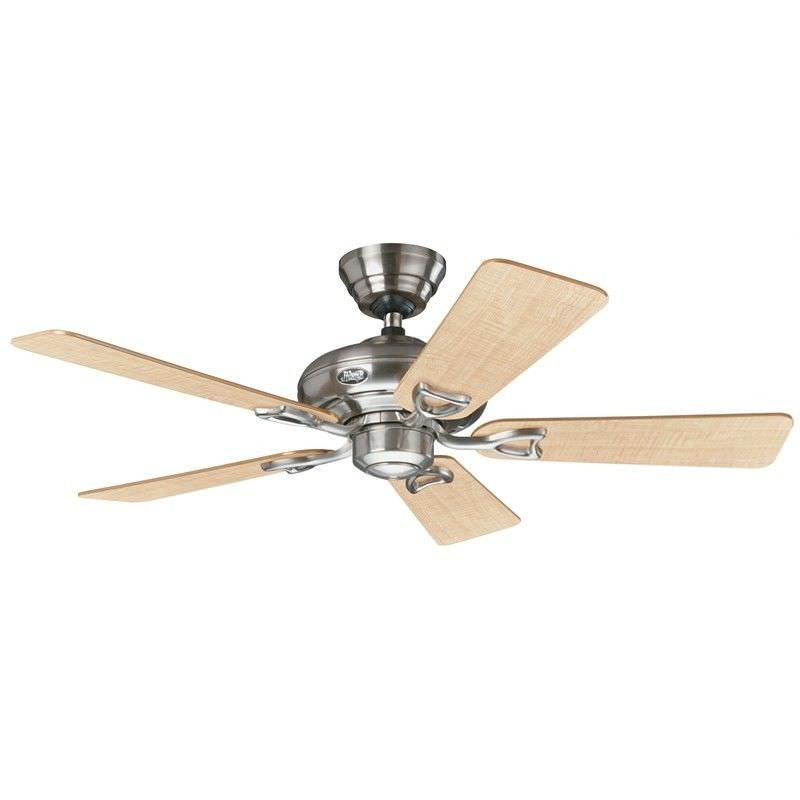 Hunter Seville II Brushed Nickel Ceiling Fan with Maple / Grey Switch Blades