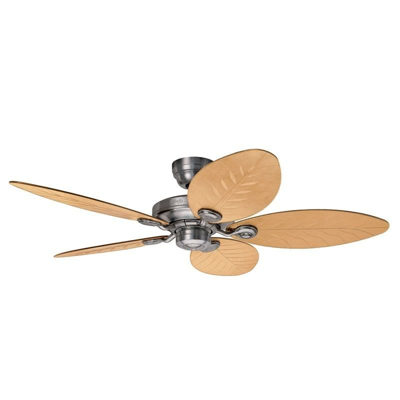 Hunter Outdoor Elements II Raw Aluminium Outdoor Ceiling Fan with Nature Palm / Natural Wicker Switch Blades