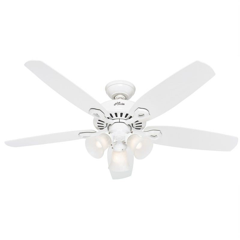 Hunter Builder Plus Ceiling Fan with White Blades and Lights