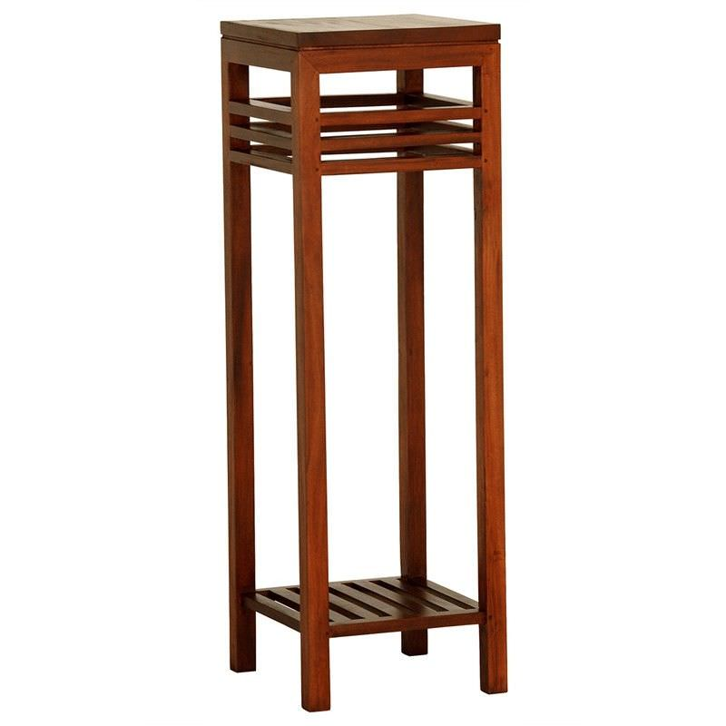 Holland Solid Mahogany Timber Plant Stand, Light Pecan