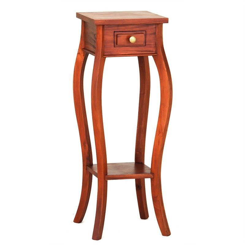 Queen Ann Solid Mahogany Timber Plant Stand, Light Pecan