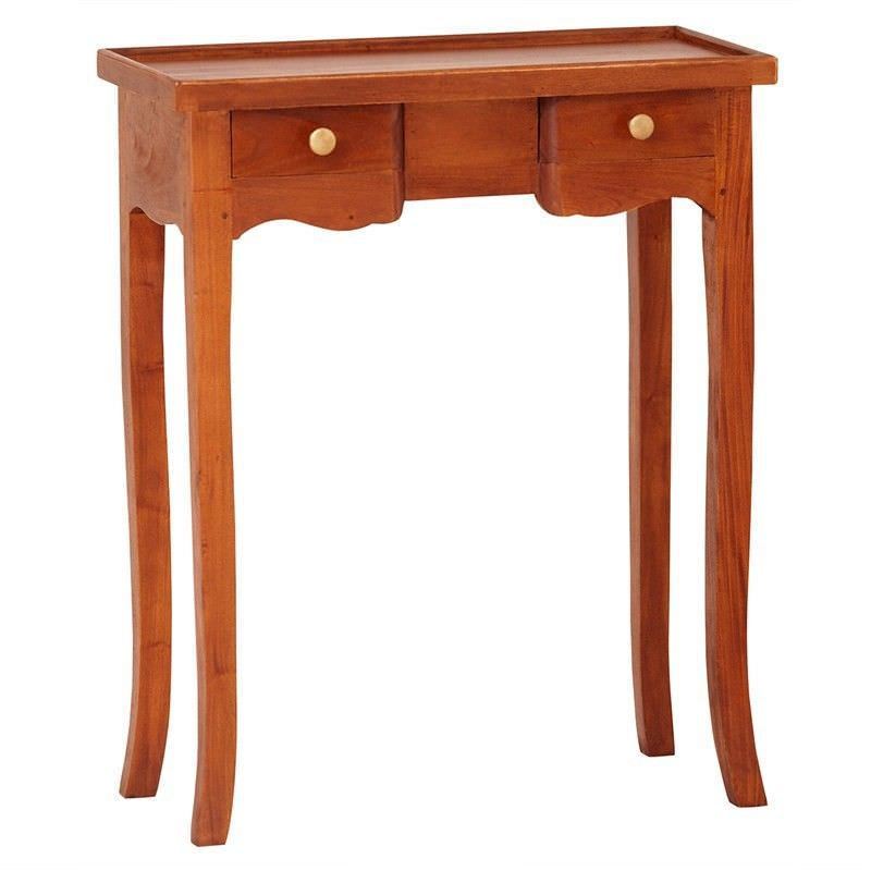 Queen Ann Solid Mahogany Timber 2 Drawer Phone Table - Light Pecan