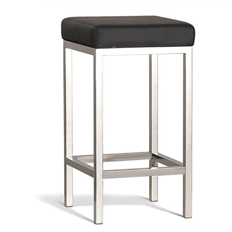 Borgo Commercial Grade Polished Stainless Steel Counter Stool, Black