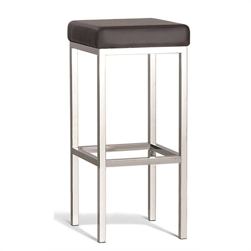 Borgo Commercial Grade Polished Stainless Steel Bar Stool, Brown