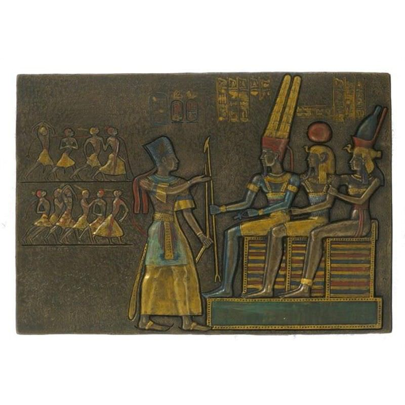 Veronese Cold Cast Bronze Coated Egyptian Pharaoh Offering Prisoners Wall Plaque