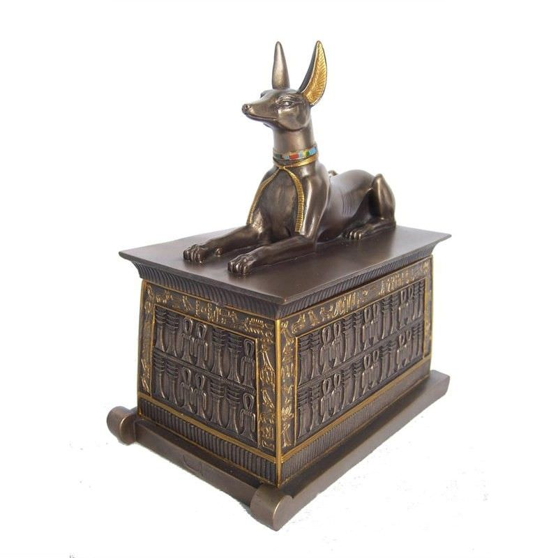 Veronese Cold Cast Bronze Coated Anubis Trinket Box, Small