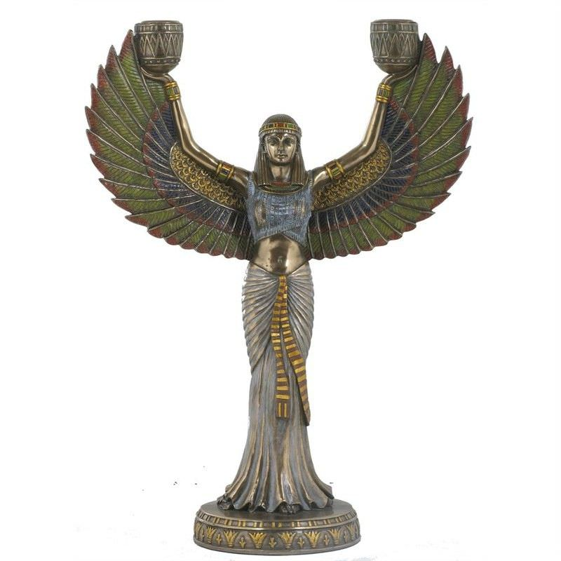 Veronese Cold Cast Bronze Coated Isis Candle Holder