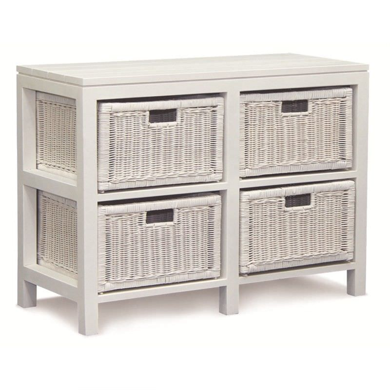 Solid Mahogany Timber Storage Unit with 4 Rattan Baskets, White