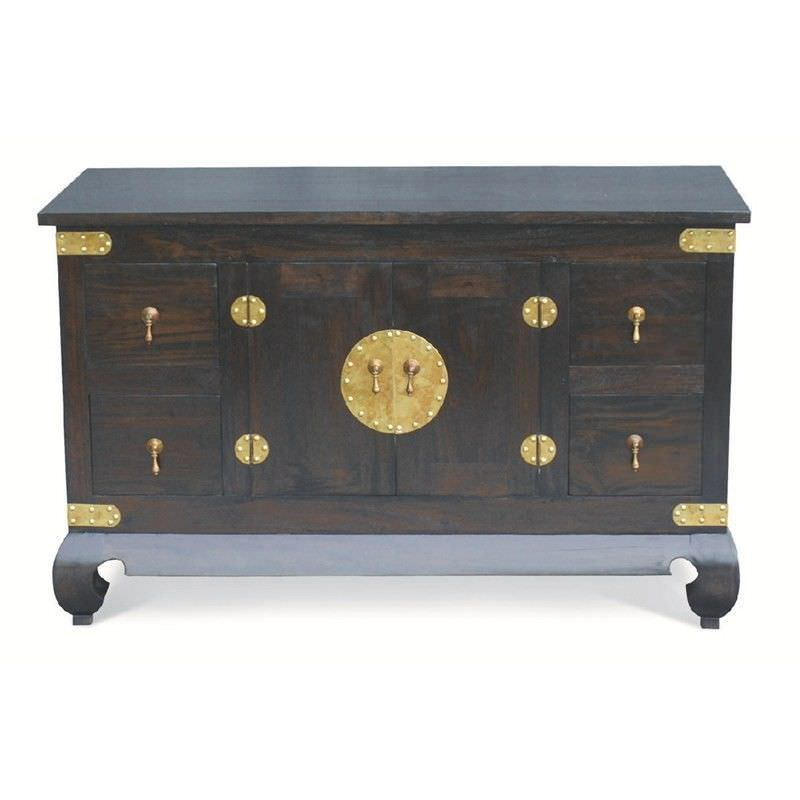 Ming Solid Mahogany Timber 2 Door 4 Drawer 120cm TV Unit - Chocolate