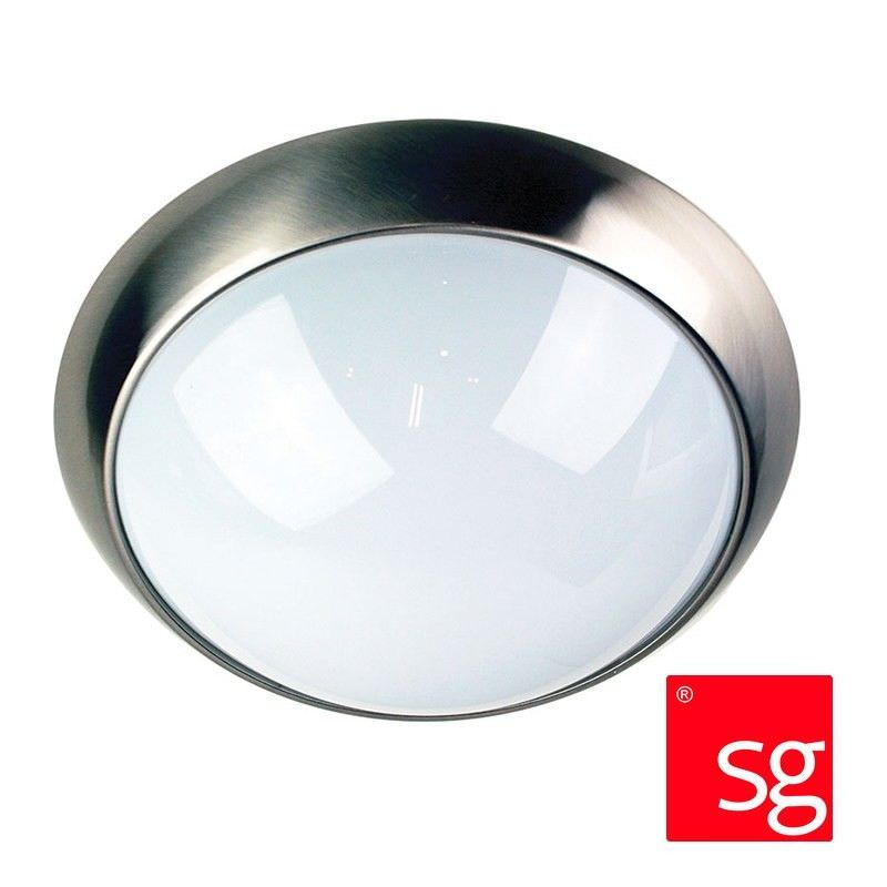 Econ Ip44 Acrylic Double Insulated Exterior Ceiling Light - Brushed Steel (Oriel Lighting)