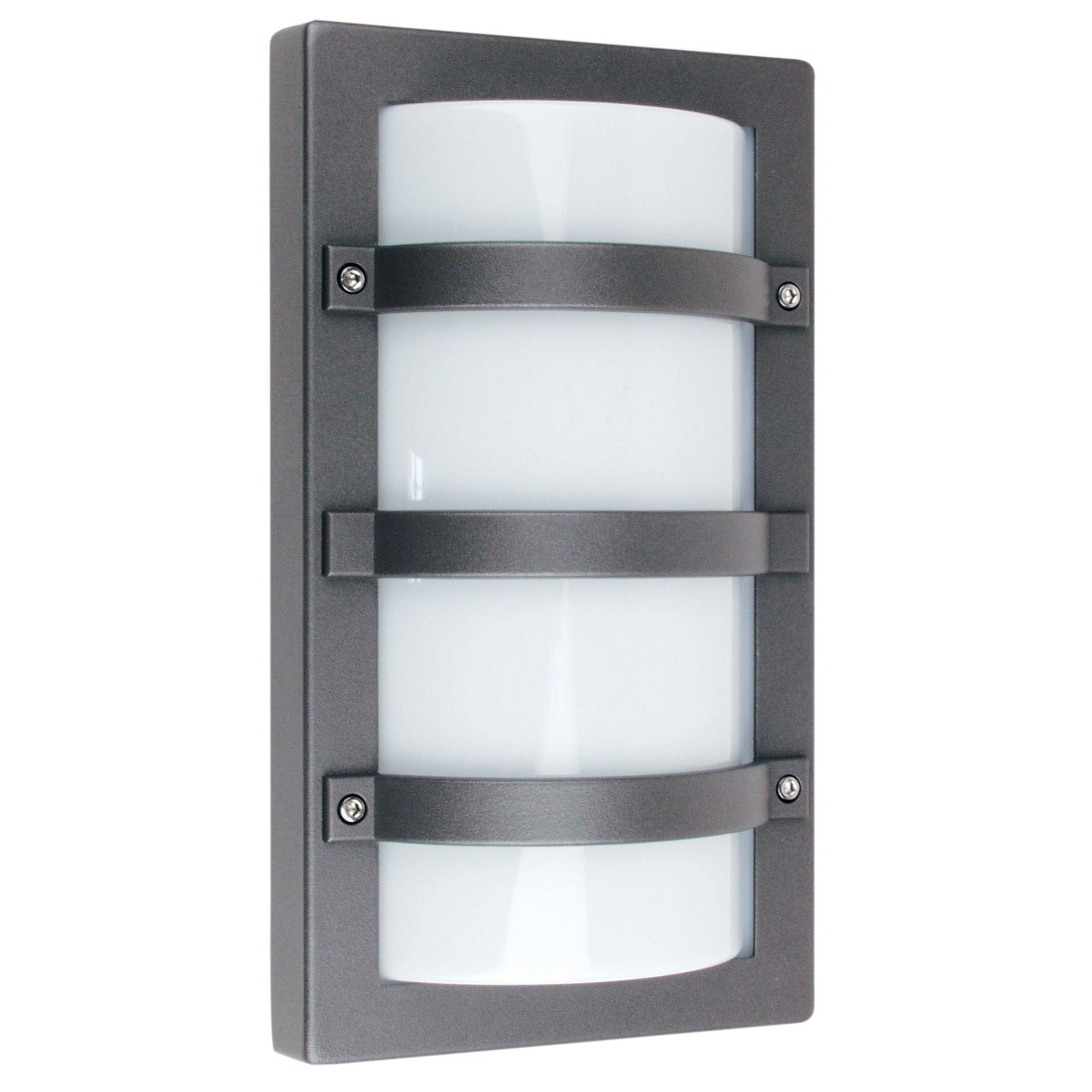 Trio IP65 Commercial Grade Exterior Bunker Wall Light, Large, Graphite