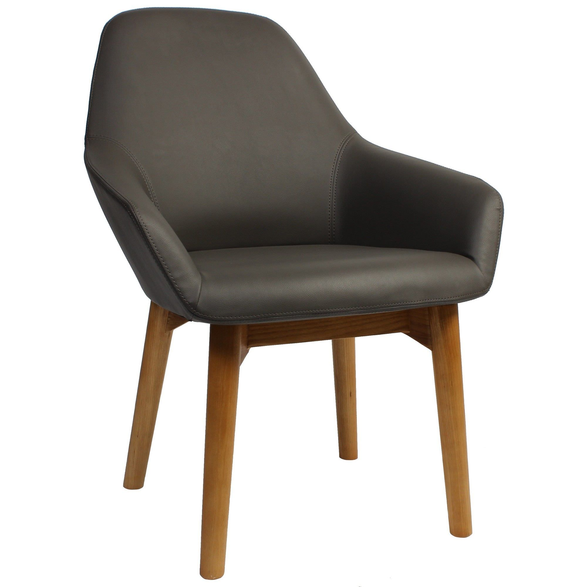 Bronte Commercial Grade Vinyl Dining Armchair, Timber Leg, Charcoal / Natural