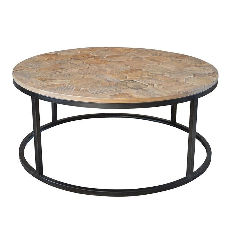 Dover Round Wooden and Iron Coffee Table - 105cm