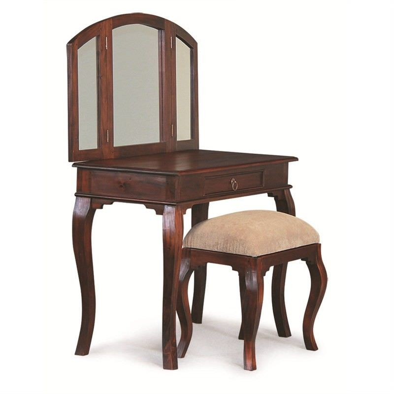Queen Ann Mahogany Timber Dressing Table with Stool, Mahogany