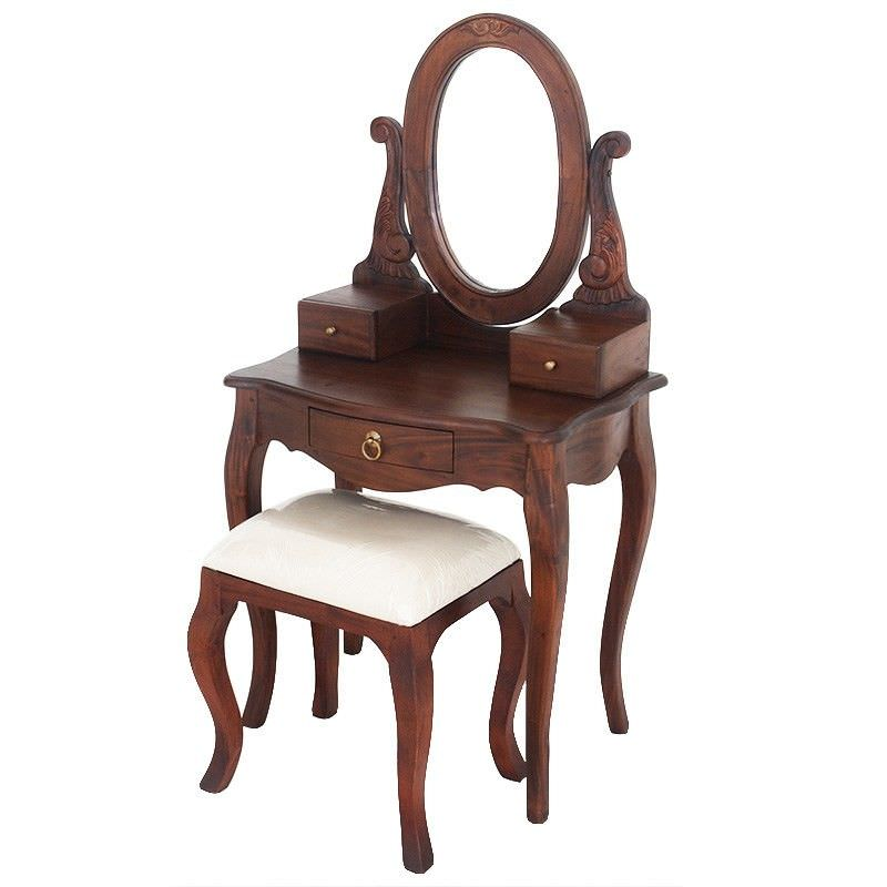 Queen Ann Mahogany Timber Oval Mirror Dressing Table with Stool, Mahogany
